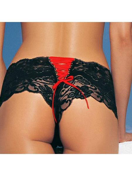 2988 BOYSHORT LEG AVENUE W LACE UP BACK SMALL-MEDIUM BLACK RED