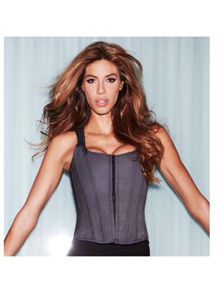 SUITE INSPIRED TANK CORSET GREY  PINSTRIPE SMALL